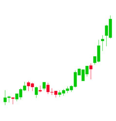 candlestick chart growth acceleration flat icon vector image