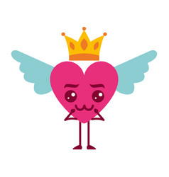 Cartoon heart in love kawaii wings and crown vector