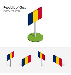 Chad republic flag set 3d isometric icons vector