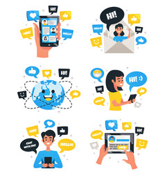 Chat communication compositions icons set vector