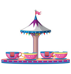 Circus ride with pink teacups vector