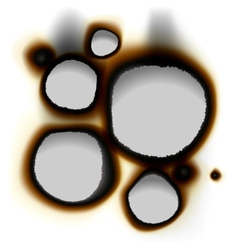 collection burnt holes in white paper vector image