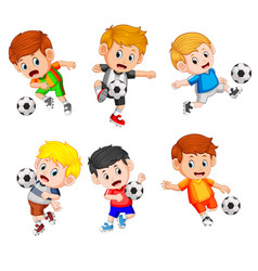 Collection of the profesional children play soccer vector