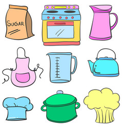 collection stock of kitchen equipment doodles vector image
