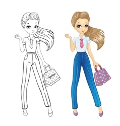 Coloring Book Of Business Girl vector image