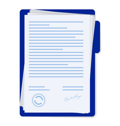 Contract papers document with signature and text vector