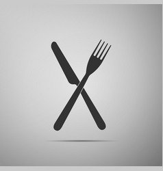 crossed fork and knife icon restaurant icon vector image