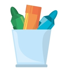 cup with various colores markers school vector image