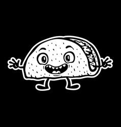 Cute funny cartoon taco vector