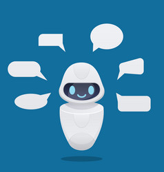 cute future chat bot with text bubbles vector image
