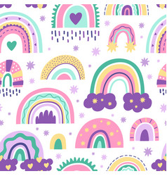 cute nursery rainbow pattern doodle childish vector image