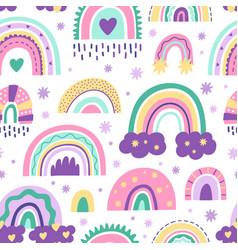 Cute nursery rainbow pattern doodle childish vector