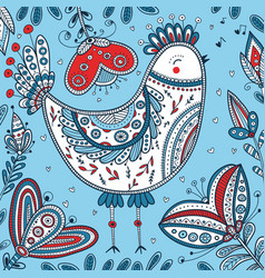 Decorated bird in ethnic boho style vector