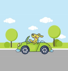 Dog by car vector