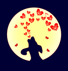 dog was howling to the moon a small red heart vector image