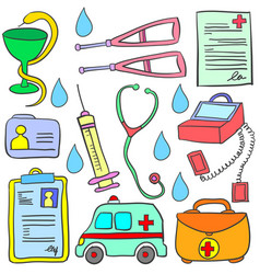Doodle of medical object collection stock vector