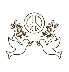 Doves with peace and love symbol isolated icon vector