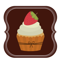 emblem muffin cupcakes icon design vector image