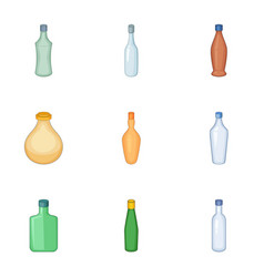 Emprty bottle of alcohol icons set cartoon style vector