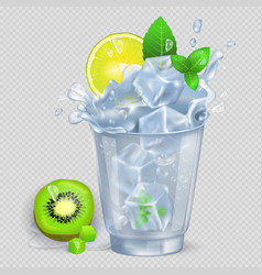 Faceted glass of mojito with ice vector