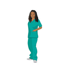 Female black medical technician wearing green vector