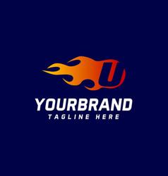 fire u letter design logo design template icon vector image
