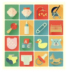 Flat icons baby set vector