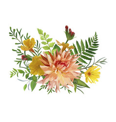 Flower bunch airy wreath bouquet of garden yellow vector