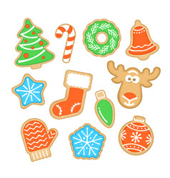 gingerbread christmas cookies with sugar icing vector image