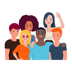 Group portrait happy teen friends vector