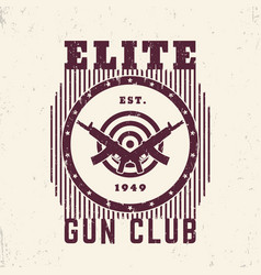 Gun club vintage emblem with guns and target vector