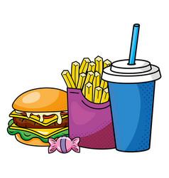 hamburger french fries and soda vector image