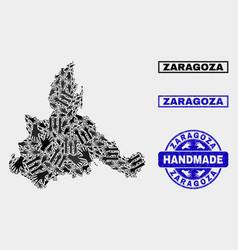 Handmade composition zaragoza province map and vector