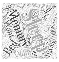 Having a Good Sleep with Memory Foam Mattress Word vector image