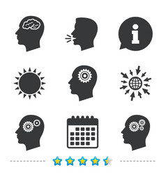 Head with brain icon male human symbols vector