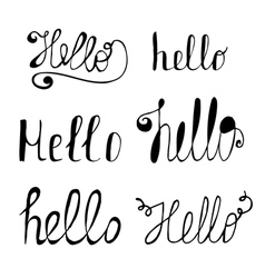 Hello in different style set Hand drawn collection vector image vector image