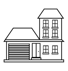 House with garage icon outline style vector