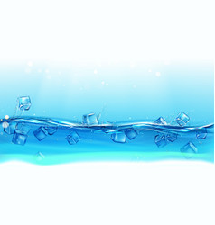 ice cubes floating water with splashes and drops vector image