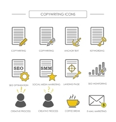 Icons of copywriting in linear style vector image