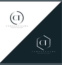 Initial letter ct circle brush hexagon brush vector