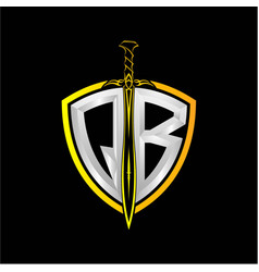 Initials q b is a shield decorated vector