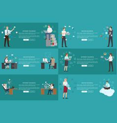 Internet online business set colorful cards vector
