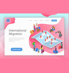 Isometric flat landing page template of vector
