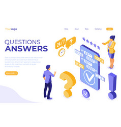 Isometric online customer support vector