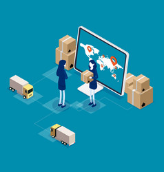 isometric online global logistics network cargo vector image