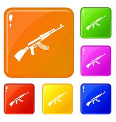 Kalashnikov machine icons set color vector