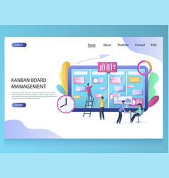 kanban board management website landing vector image