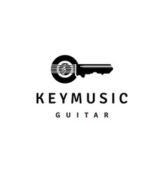 key guitar string with treble clef for music logo vector image