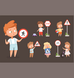 kids rules road school people with traffic signs vector image