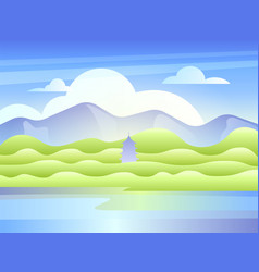 landscape with mountains the lake and east pagoda vector image